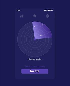 Aplicativo de pesquisa com radar, design de interface do usuário móvel