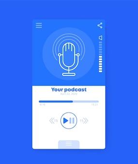Aplicativo de podcast, design de interface do usuário móvel