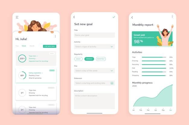 Aplicativo de rastreamento de metas e hábitos Vetor Premium