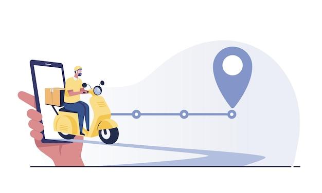 Aplicativo de rastreamento de serviços de entrega online, scooter e pacote por telefone celular.