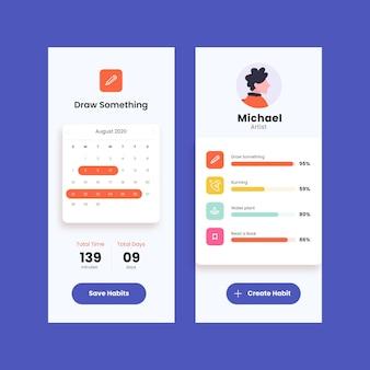 Aplicativo de rastreamento móvel de metas e hábitos do planejador