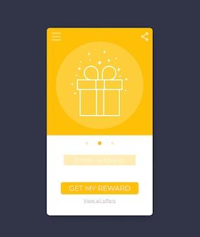 Aplicativo de recompensa, design de interface do usuário móvel