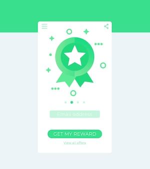 Aplicativo de recompensas, design de interface do usuário móvel em vetor