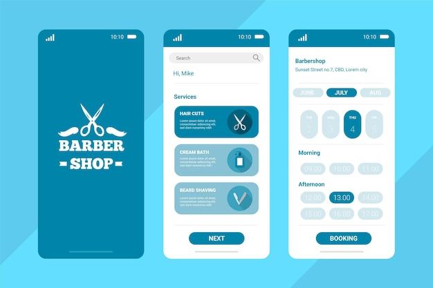 Aplicativo de reserva de barbearia azul pastel
