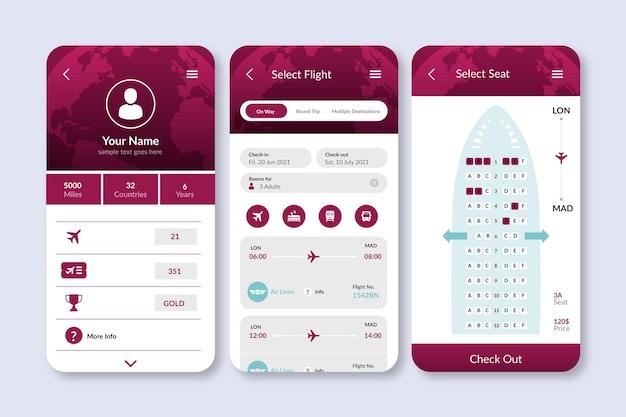 Aplicativo de reserva de viagens com interface simplista