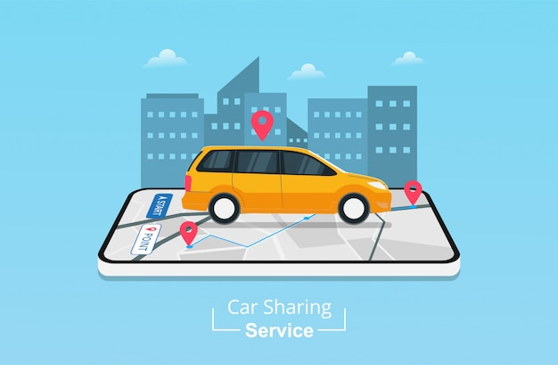 Aplicativo de serviço de compartilhamento de carro no celular com localização de navegação gps.