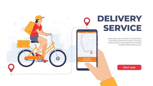 Aplicativo de serviço de entrega. mulher andando de bicicleta com comida. atendimento online, correio com pacote em bicicleta com caixas de pizza. mão segurando smartphone rastreamento de navegação ilustração vetorial de página de destino.
