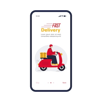 Aplicativo de serviço de entrega rápida na tela do smartphone com correio de desenhos animados