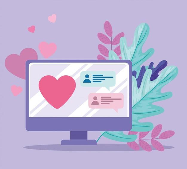 Aplicativo de serviço de namoro online, computador com coração, bate-papo, à procura de casal, mídias sociais, conceito de comunicação de relacionamento virtual