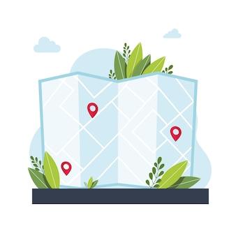 Aplicativo de serviço de navegação gps. mapas, obter metáforas de direções. ilustrações isoladas de metáfora do conceito de vetor. obtenha o conceito abstrato de direções. ilustração vetorial