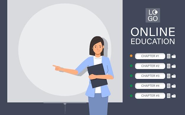 Aplicativo de site de educação on-line com animação de personagens do professor.