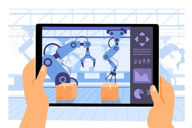 Aplicativo de tablet de uso humano como computador para controlar os braços do robô trabalhando em produção transportados na indústria de fábrica inteligente 4