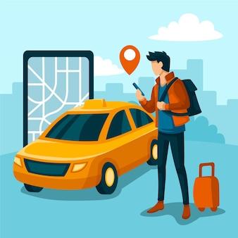 Aplicativo de táxi ilustrado