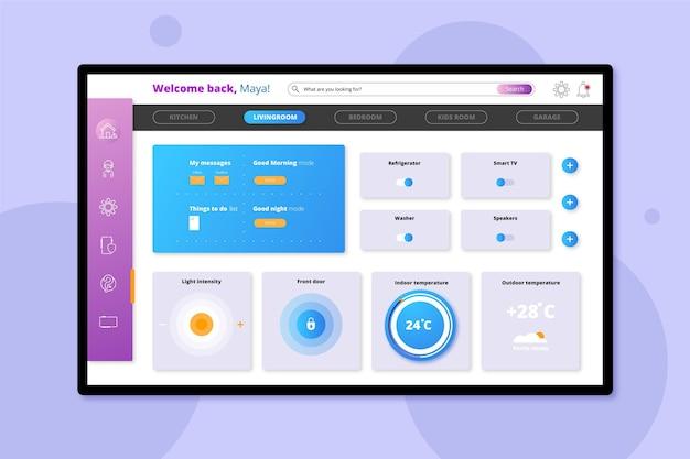 Aplicativo de tela de laptop para gerenciamento de casa inteligente