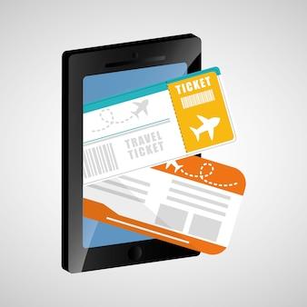 Aplicativo de telefone celular bilhete de viagem
