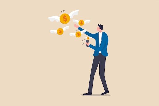 Aplicativo de telefone inteligente financeiro, transação de dinheiro online ou conceito de banco móvel, jovem adulto usando o aplicativo de banco móvel para transferir dinheiro ou fazer transações de compras online.