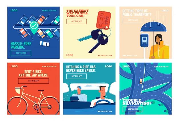 Aplicativo de transporte mídias sociais postar coleção instagram