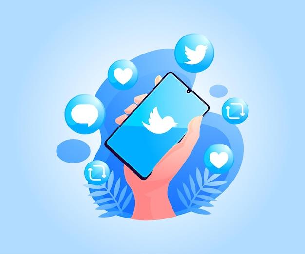 Aplicativo de twitter de mídia social no smartphone
