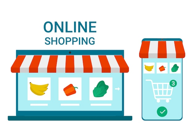 Aplicativo de varejo para smartphone e laptop on-line para compras de mercadorias entrega de mantimentos em casa