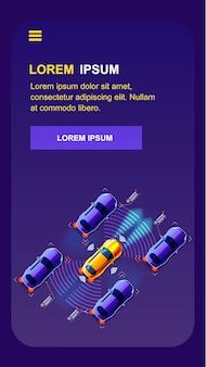 Aplicativo de vetor de telefone móvel de transporte futuro
