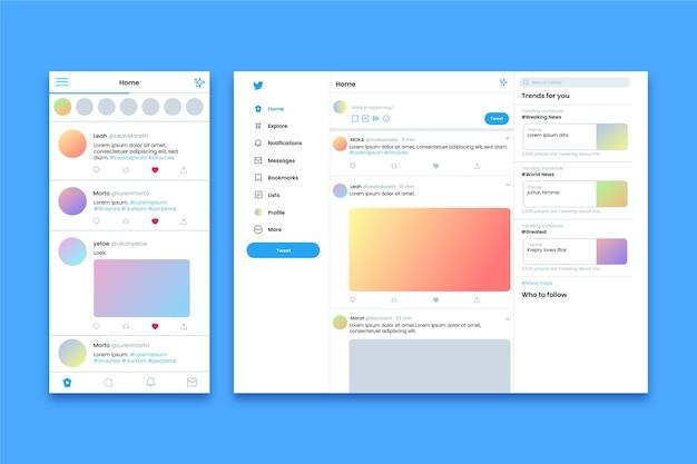 Aplicativo do twitter e interface do site
