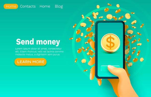 Aplicativo financeiro móvel, serviço bancário inteligente, design de banner de site da web.