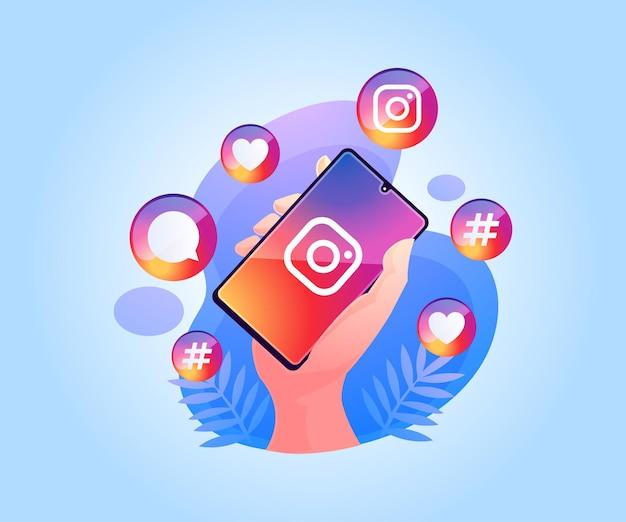 Aplicativo instagram de mídia social no smartphone