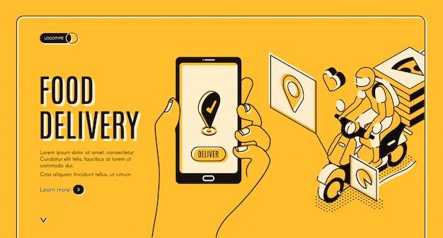 Aplicativo isométrico da página de destino do serviço de entrega de comida