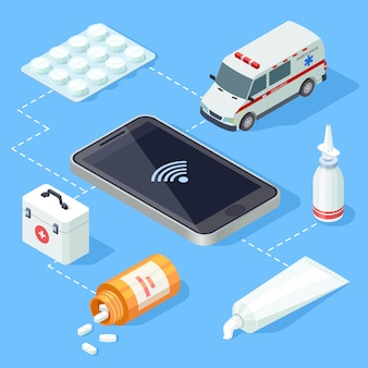 Aplicativo médico on-line para vetor isométrico de primeiros socorros