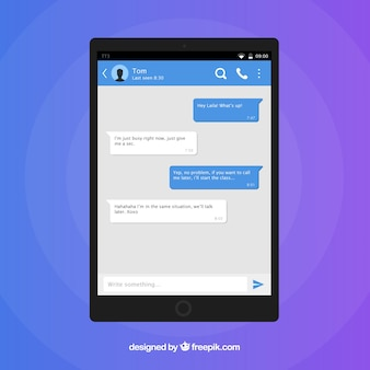Aplicativo messenger para celular em estilo plano