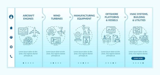Aplicativo moderno por modelo de vetor de integração da indústria. site móvel responsivo com ícones. página da web com telas de 5 etapas. conceito de cores de turbinas eólicas com ilustrações lineares