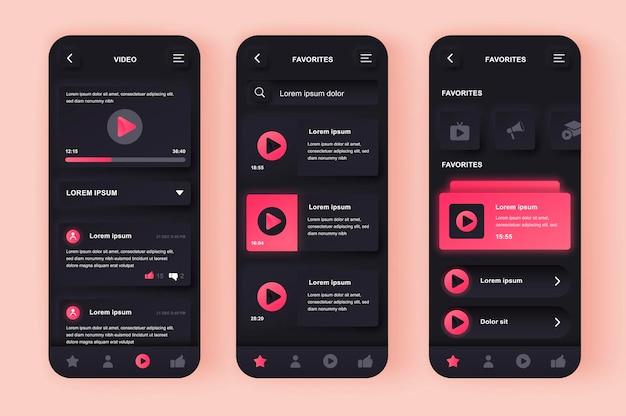 Aplicativo móvel da interface do usuário de design neumoroso moderno video tube