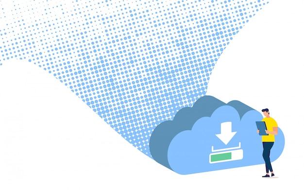 Aplicativo móvel de economia de dados corporativos, sincronização e backup de serviço online