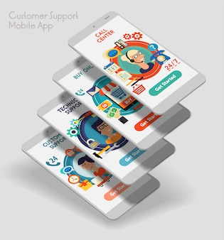 Aplicativo móvel de interface do usuário responsiva de design plano com modelos 3d