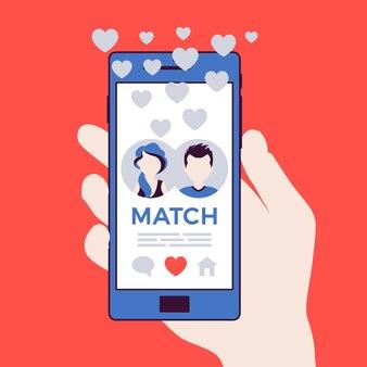 Aplicativo móvel de namoro com correspondência na tela do smartphone
