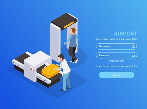 Aplicativo móvel do aeroporto com página de destino isométrica de símbolos de viagem e turismo
