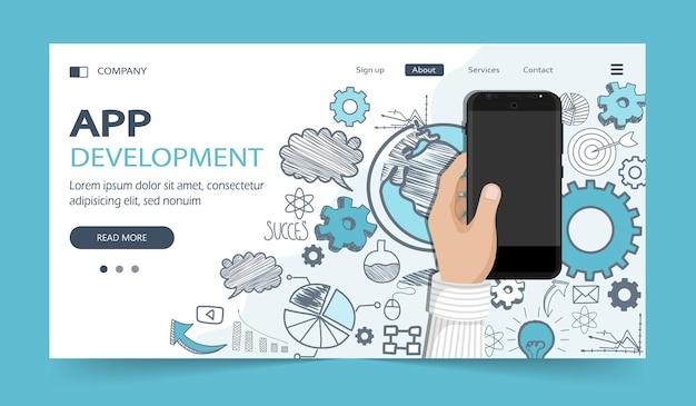 Aplicativo móvel e conceito de desenvolvimento de aplicativo móvel