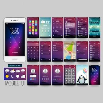 Aplicativo móvel fantástica com diferentes telas