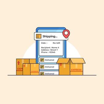 Aplicativo móvel moderno de rastreamento de remessa com ilustração de várias caixas de entrega de pacotes de papelão