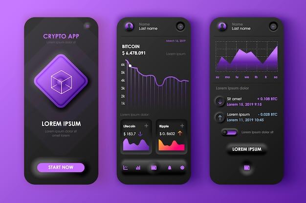 Aplicativo móvel neomórfico ui ux kit blockchain estilo neomorfismo exclusivo.