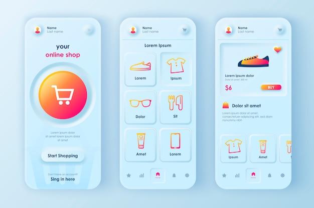 Aplicativo móvel neomórfico ui ux kit compras on-line estilo neomorfismo exclusivo.