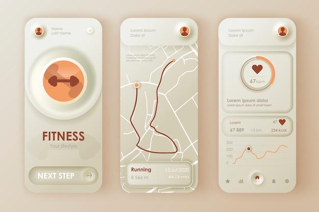 Aplicativo móvel neomórfico ui ux kit fitness workout estilo neomorfismo exclusivo.