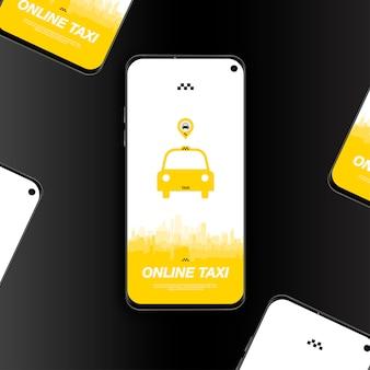Aplicativo móvel on-line de táxi com carro de ícone no smartphone.
