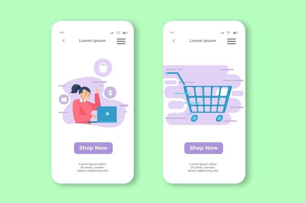 Aplicativo móvel online de compra de carrinho de compras online
