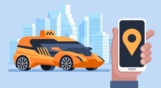 Aplicativo móvel online para solicitar serviço de táxi