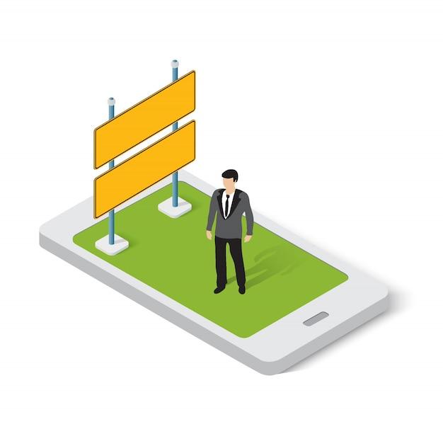 Aplicativo móvel para anúncios online e sinais da internet