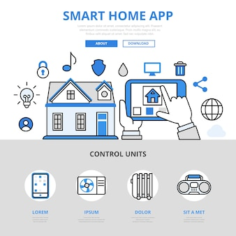 Aplicativo móvel para casa inteligente para gerenciar o estilo de linha plana do conceito de água de aquecimento da temperatura da luz do sensor.