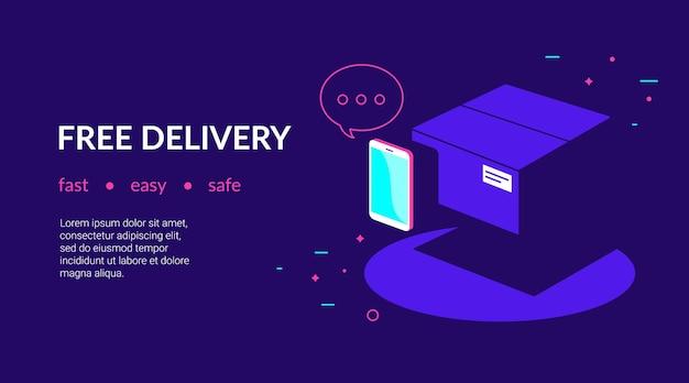 Aplicativo móvel para entrega gratuita e pagamentos online por cartão de crédito modelo de site de néon plana de vetor