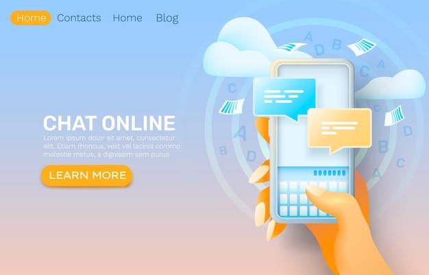 Aplicativo on-line de bate-papo do smartphone, rede de diálogo de contato, serviço de conversa.
