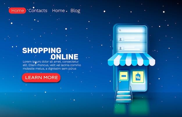 Aplicativo on-line de compras de smartphone, banner de mercado da web, loja de venda.